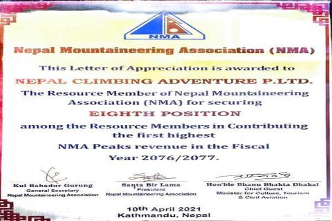 Happy to be one of the Highest Peak Climbing Revenue Contributors